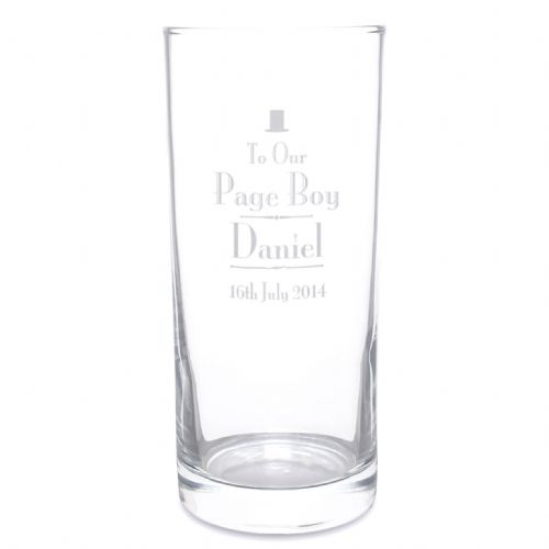 Personalised Decorative Wedding Page Boy Hi Ball Glass